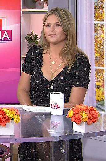 Jenna's black floral v-neck dress on Today