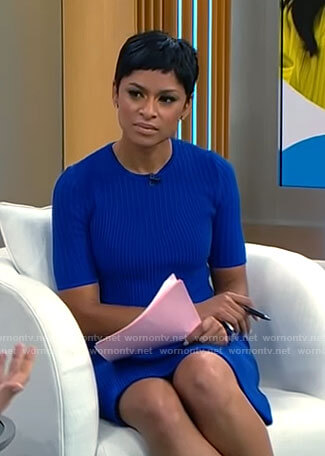 Jericka Duncan's blue ribbed knit dress on CBS Mornings