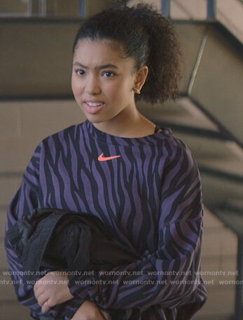 Stacey's black fur pearl embellished jacket on The Baby-Sitters Club