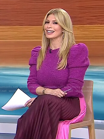 Jill's purple sweater and pink colorblock pleated skirt on Today