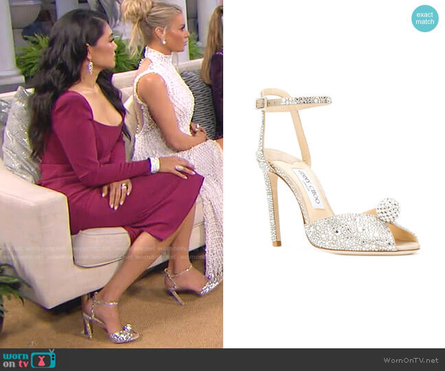 Sacora Sandals by Jimmy Choo worn by Crystal Kung Minkoff  on The Real Housewives of Beverly Hills