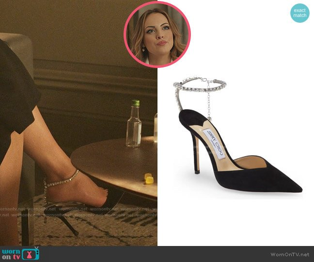 Saeda Crystal Ankle Strap Pointed Toe Pump by Jimmy Choo worn by Fallon Carrington (Elizabeth Gillies) on Dynasty
