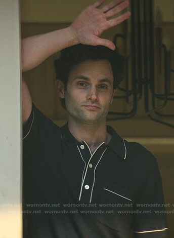 Joe's black contrast stitching polo shirt on You