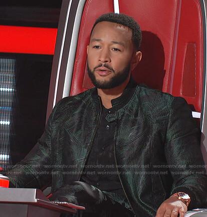 John Legend's black palm tree print shirt and bomber jacket on The Voice