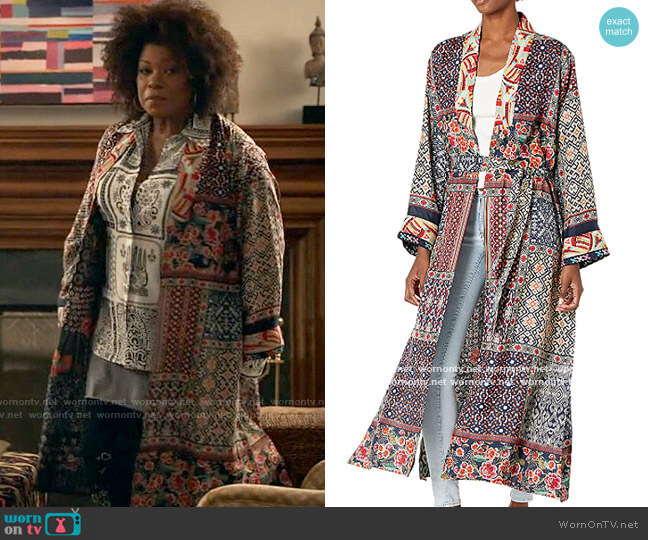 Johnny Was Patchwork Kimono worn by Viola Marsette (Lorraine Toussaint) on The Equalizer