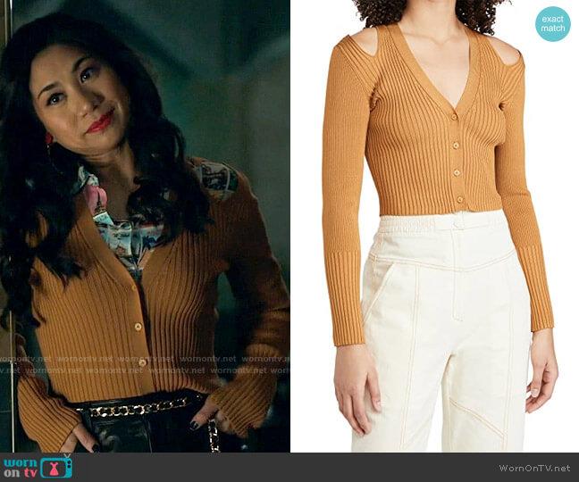 Jonathan Simkhai Jolie Cut Out Shoulder Cardigan worn by Melody Bayani (Liza Lapira) on The Equalizer