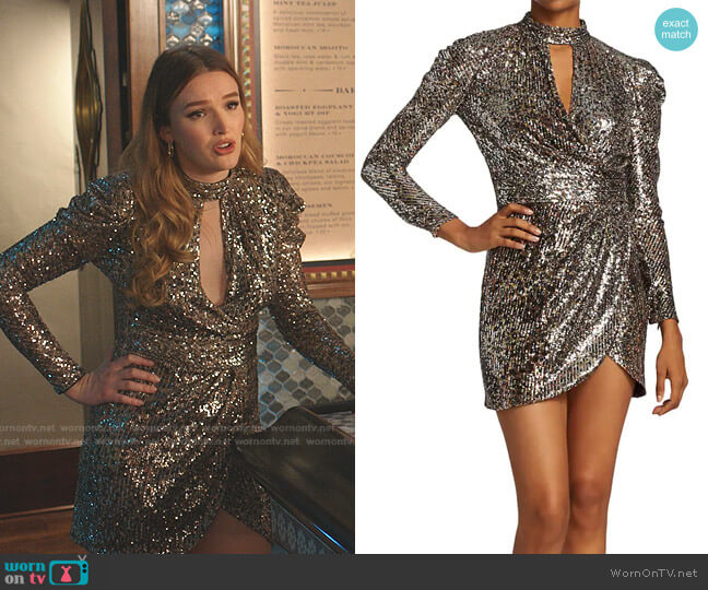Mallory Sequined Long Puff-Sleeve Mini Dress by Jonathan Simkhai worn by Kirby Anders (Maddison Brown) on Dynasty