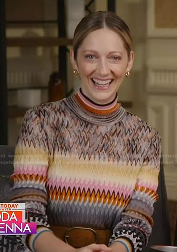 Judy Greer's zig zag knit dress on Today