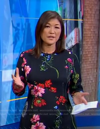 Juju Chang's black floral dress on Good Morning America