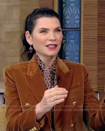 Julianna Margulies's brown velvet blazer on Live with Kelly and Ryan