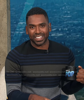 Justin's multicolor striped sweater on E! News Daily Pop