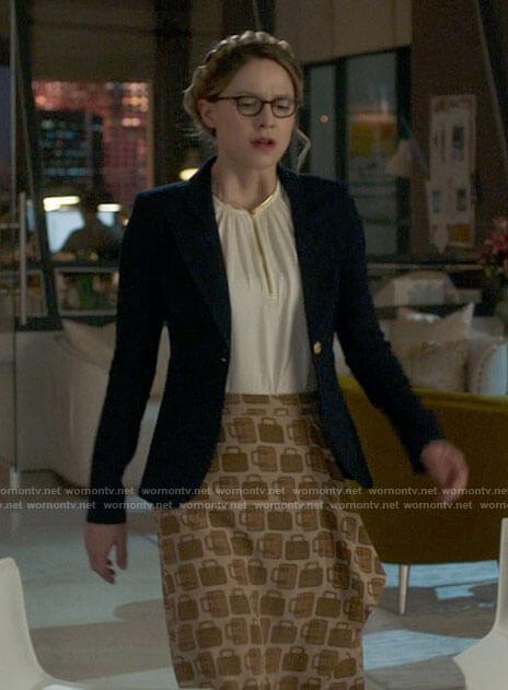 Kara's bag print skirt white keyhole blouse and navy blazer on Supergirl