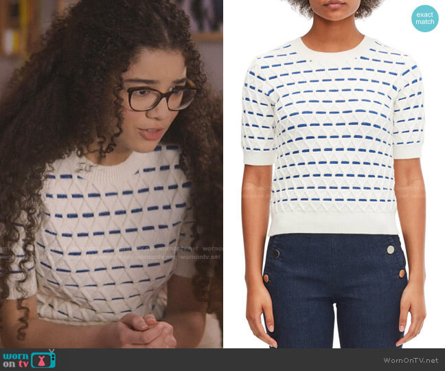 Striped Cable Sweater by Kate Spade worn by Mary-Anne Spier (Malia Baker) on The Baby-Sitters Club