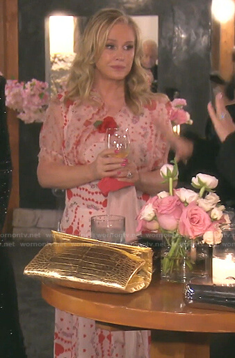 Kathy's pink heart print dress on The Real Housewives of Beverly Hills