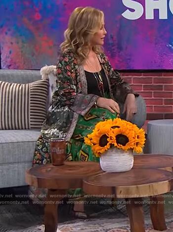 Kathy Hilton's floral print kimono on The Kelly Clarkson Show