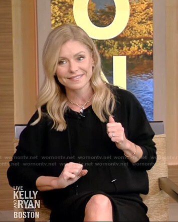 Kelly's black hooded dress on Live with Kelly and Ryan