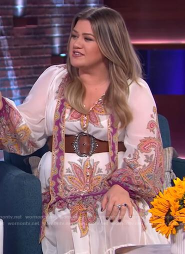 Kelly's paisley print maxi dress on The Kelly Clarkson Show