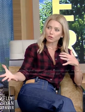 Kelly's red plaid shirt and jeans on Live with Kelly and Ryan