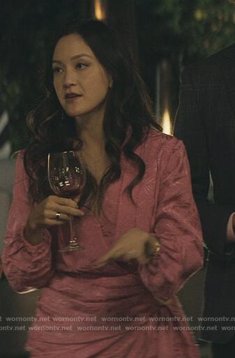 Kiki's pink wrap drape mini dress on You