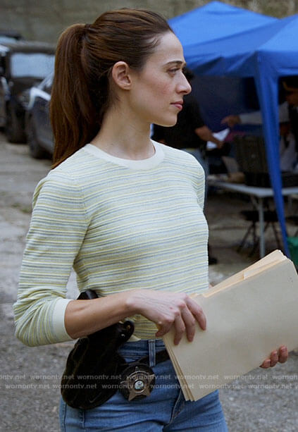 Kim's yellow striped sweater on Chicago PD