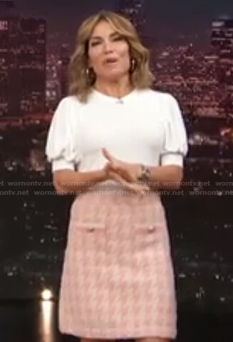 Kit's white top and pink houndstooth skirt on Access Hollywood