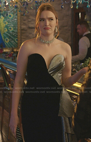Kirby's black and silver strapless ruffled dress on Dynasty