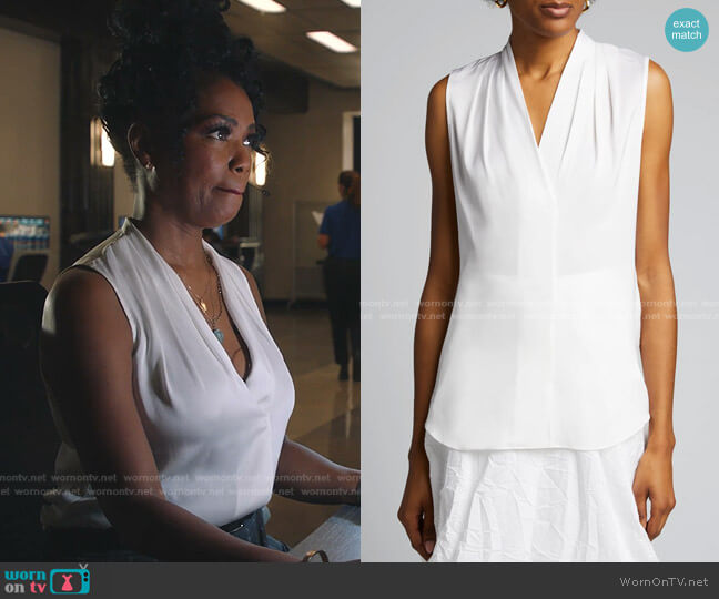 Mila Sleeveless Blouse by Kobi Halperin worn by Claudette Collins (Vanessa Estelle Williams) on 9-1-1