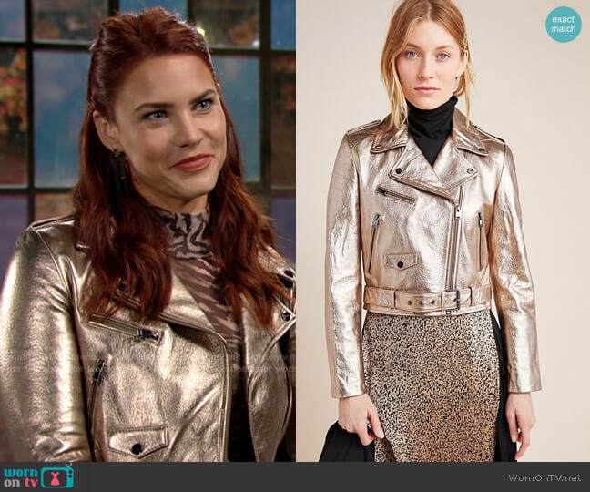 Lamarque Roberta Metallic Leather Moto Jacket worn by Sally Spectra (Courtney Hope) on The Young & the Restless