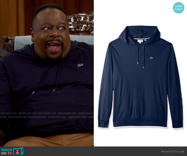 Lacoste Long Sleeve Hooded Jersey Cotton T-Shirt Hoodie worn by Calvin (Cedric The Entertainer) on The Neighborhood