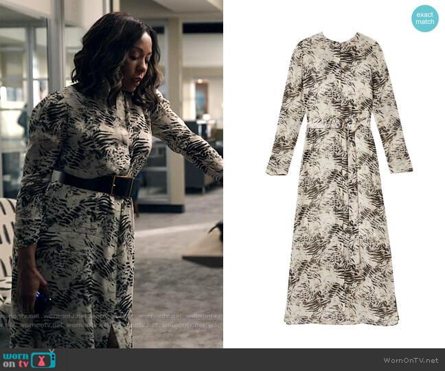 Lafayette 148 New York Neilson Graphite Print Midi Dress worn by Mia Jordan (Karen Pittman) on The Morning Show