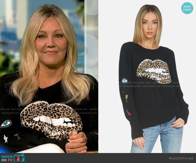 Ladona Leopard Lip Sweater by Lauren Moshi worn by Heather Locklear on GMA