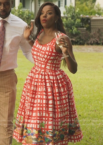 Leah's red and white checked dress on Our Kind of People