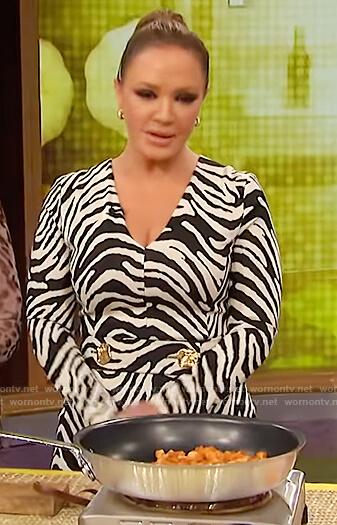 Leah Remini's zebra stripe midi dress on The Wendy Williams Show