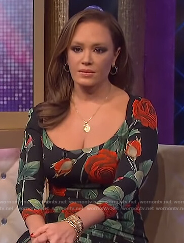 Leah Remini's black rose print dress on The Wendy Williams Show
