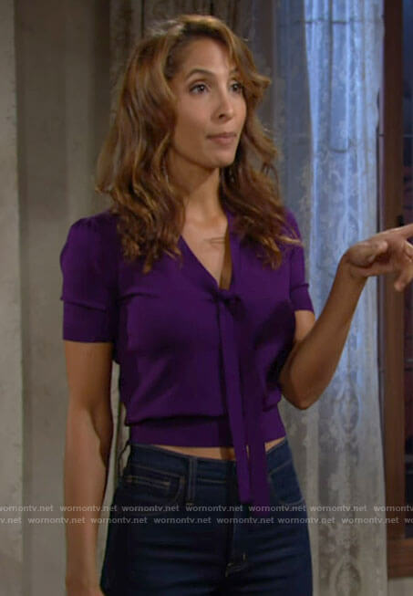 Lily's purple tie neck top on The Young and the Restless