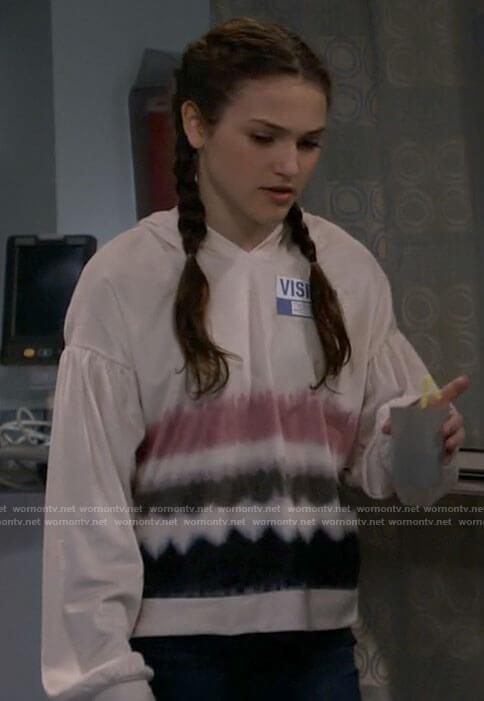 Maddie's tie dye hoodie on B Positive