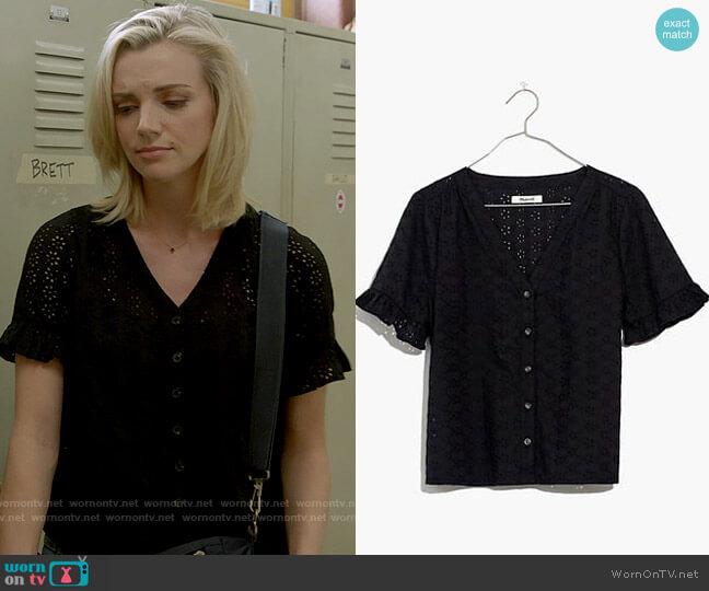 Madewell Eyelet Village Ruffle-Sleeve Shirt worn by Sylvie Brett (Kara Killmer) on Chicago Fire