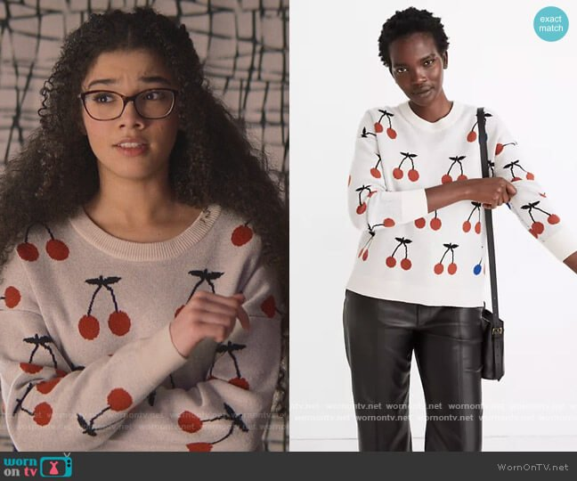 Cherry Jacquard Pullover Sweater by Madewell worn by Mary-Anne Spier (Malia Baker) on The Baby-Sitters Club