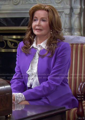 Maggie's purple peplum jacket and skirt on Days of our Lives