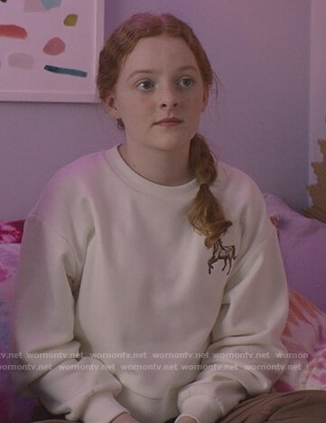Mallory's white horse embroidered sweater on The Baby-Sitters Club