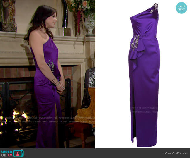 Marchesa Notte Embellished One Shouldered Evening Dress worn by Tessa Porter (Cait Fairbanks) on The Young & the Restless