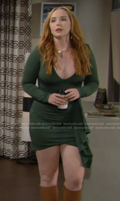 Mariah's green side ruffle mini dress on The Young and the Restless