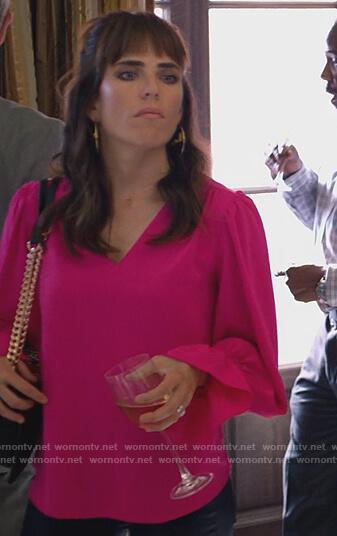 Marina's purple floral ruffle top on Home Economics