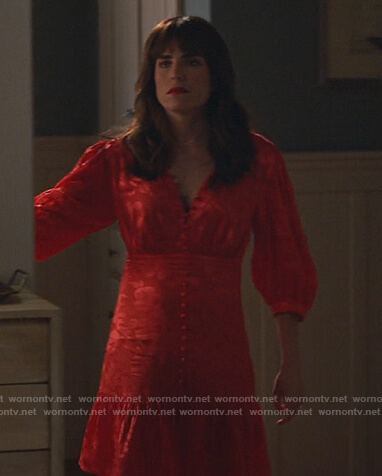 Marina's red floral button down dress on Home Economics
