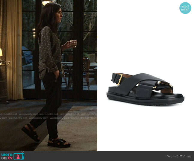 Marni Fussbet Slide worn by Laura Peterson (Julianna Margulies) on The Morning Show