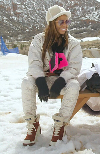Mary's black and white fur scarf and boots on The Real Housewives of Salt Lake City