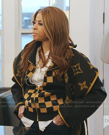 Mary's checkerboard jacket and coat on The Real Housewives of Salt Lake City