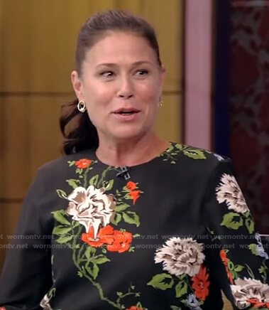 Maura Tierney's black floral dress on Live with Kelly and Ryan