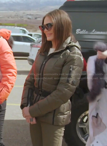 Meredith's green belted puffer jacket on The Real Housewives of Salt Lake City