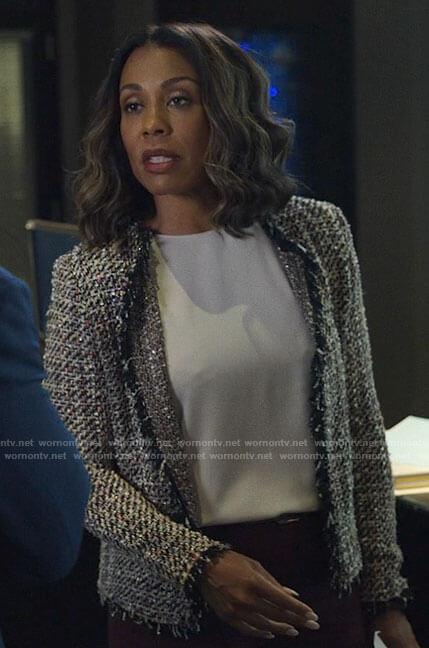 Mia's metallic tweed jacket on The Morning Show